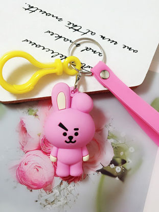 Picture of Soft Silicone Key Ring Cute Cartoon Design Key Chain Bag Pendant Decor - Size: One Size