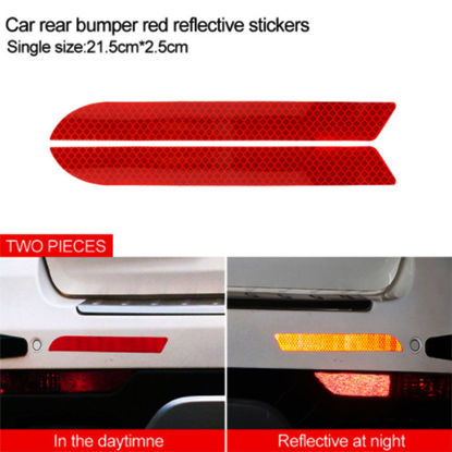 Picture of 2 Pcs Car Safety Stickers Reflective Car Door Bumper Warning Stickers