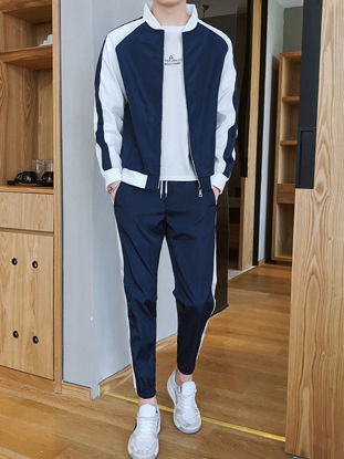 Picture of Men's 2Pcs Stand Collar Long Sleeve Colorblock Jacket Loose Casual Pants - Size: XL