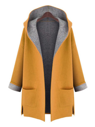 صورة Women's Plus Size Trench Coat Hooded Pocket Open Front Long Sleeve Loose Fashion Coat - Size: 5XL