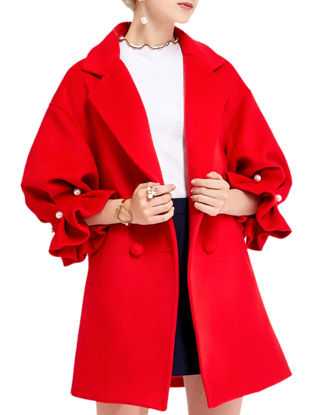 صورة Women's Wool Blend Coat Notched Collar Three Quarters Sleeve Solid Coat - Size: L