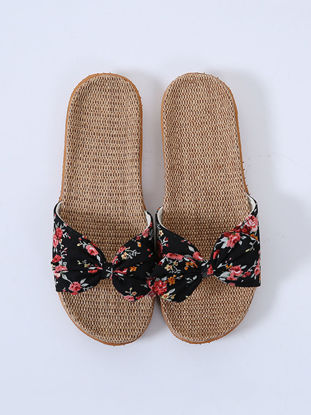 Picture of One Pair Home Slippers For Women Pastoral Floral Pattern Bow Knot Decor Comfy Linen Indoor Slippers - Size: 39-40