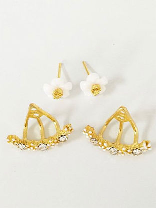 Picture of Women's Ear Studs Daisy Shaped Sweet Ladylike Trendy Accessories - Size: One Size