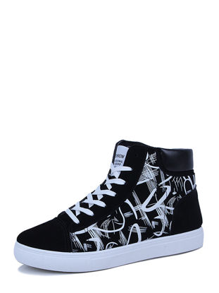 صورة Men's Ankle Boots Casual Fashion Patchwork Printing Lacing Running Shoes - Size: 43