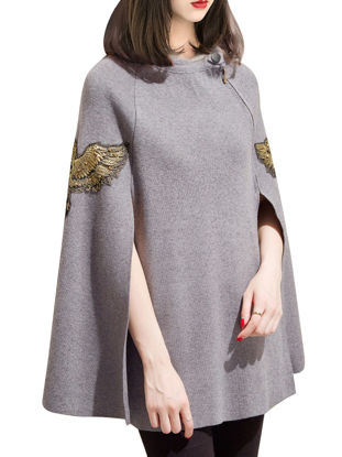 صورة Women's Poncho Fashion Embroidery Zipper Coat - Size: Free size