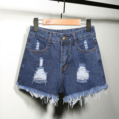 صورة High waist hole denim shorts female tide hairy wide leg fat pound loose plus fertilizer XL a word hot pants - Size: M