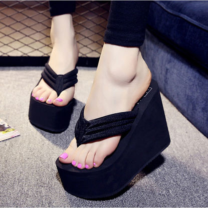 Picture of Women's Flip Flops Solid Color Wedged Platform Fashion Slippers - Size: 39