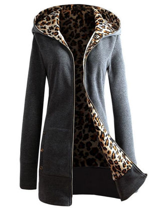 صورة Women's Wool Blend Coat Hooded Long Sleeve Solid Color Leopard Zipper Outerwear - Size: XL