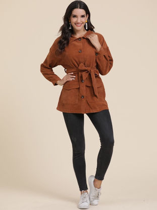 صورة Women's Trench Coat Turn Down Collar Solid Color Button Coat - Size: L