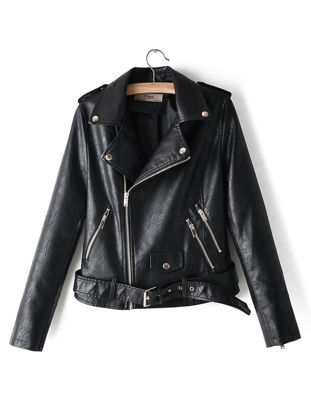 صورة Women's Synthetic Leather Jacket Patchwork Zipper Pocket Turn Down Collar Jacket - Size: 3XL