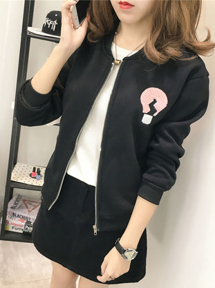 صورة Women's Bomber Jacket Appliques Long Sleeve Warm Loose Casual Top - Size: L