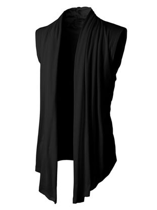 Picture of Men's Cardigan Sleeveless Turn Down Collar Solid Color All Match Top - Size: M