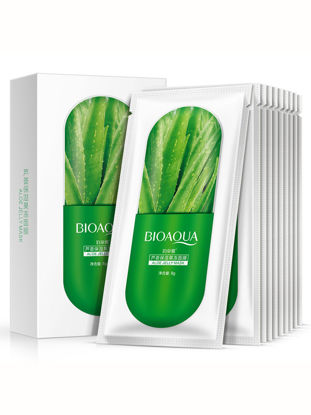 Picture of BIOAQUA Women's 10 Pieces Facial Masks Plant Extract Hydrating Smooth Moisture Masks Treatment