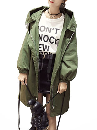 صورة Women's Trench Coat Hooded Solid Color Long Sleeve Coat - Size: S