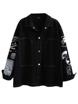 صورة Women's Denim Coat Turn Down Collar Print Single Breasted Outwear - Size: Free