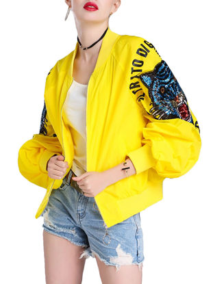 صورة Women's Bomber Jacket Animal Pattern Sequined Lantern Sleeve Stylish Jacket - Size: XXL