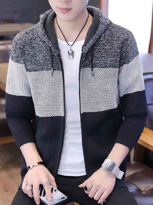 Picture of Men's Cardigan Casual Patchwork Long Sleeve Hooded Knitwear - Size: XL