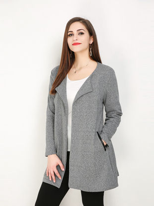 صورة Women's Outwear Plus Size Fashion Solid Color Pocket Coat - Size: 5XL