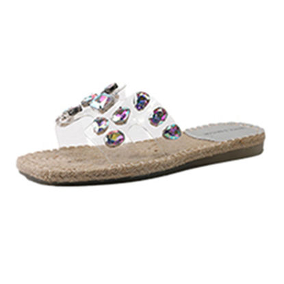 Picture of Women's Open Toe Slippers Rhinestone Design All Match Shoes - Size: 38