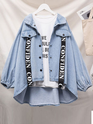 صورة Women's Denim Coat Long Sleeve Words Fashion Outerwear - Size: XL