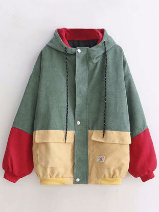 صورة Women's Bomber Jacket Pockets Long Sleeve Hooded Coat - Size: Free