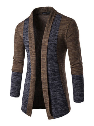 Picture of Men's Cardigan Fashion Patchwork Color Comfortable Casual Knitwear - Size: L
